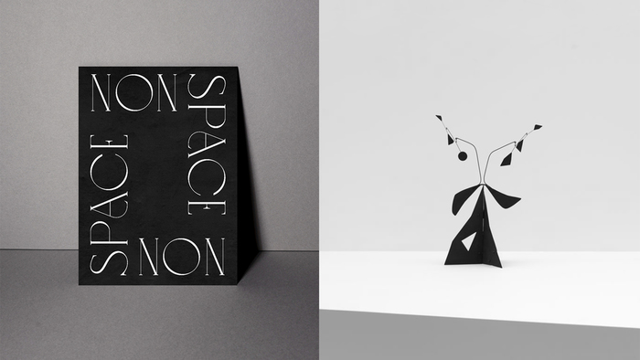 Details of the chosen primary typeface, Love, are reminiscent of forms found in Calder's sculptures.