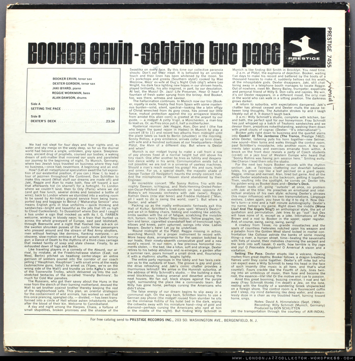 Booker Ervin with Dexter Gordon et al. – Setting the Pace album art 3