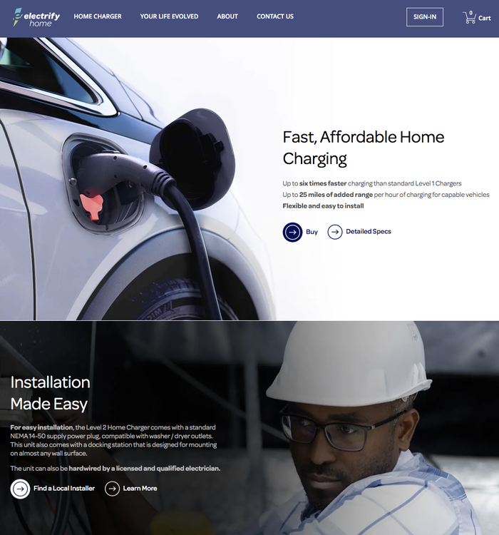 Electrify Home is a subsidiary website for home charging equipment.