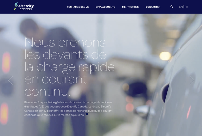 Electrify Canada is a partnership formed by Electrify America in cooperation with Volkswagen Group Canada. The bilingual website likewise uses various members of the Omnes family, including Omnes Thin for headers.