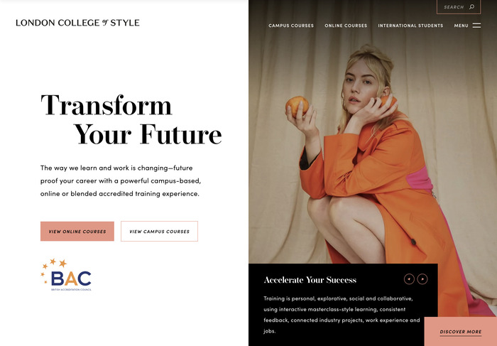 London College of Style website 1