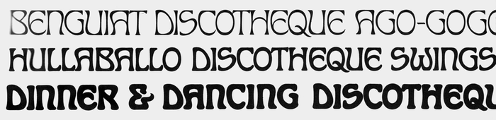 A sample of the three solid styles of , compiled from Photo-Lettering's One Line Manual of Styles (1971).