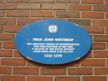 Prof. John Winthrop memorial plaque