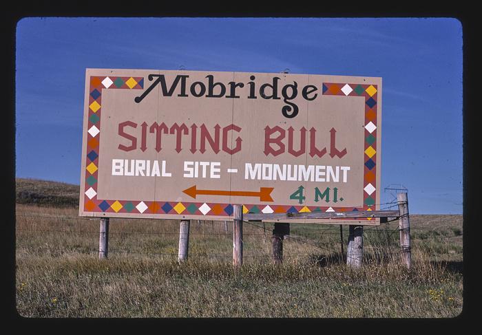 Sitting Bull Monument billboard, Route 1806, Mobridge, South Dakota