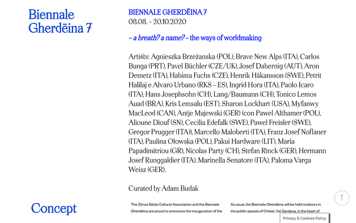 Biennale Gherdëina website 2