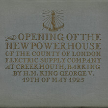 <cite>Opening of the New Power House at Creekmouth, Barking </cite>