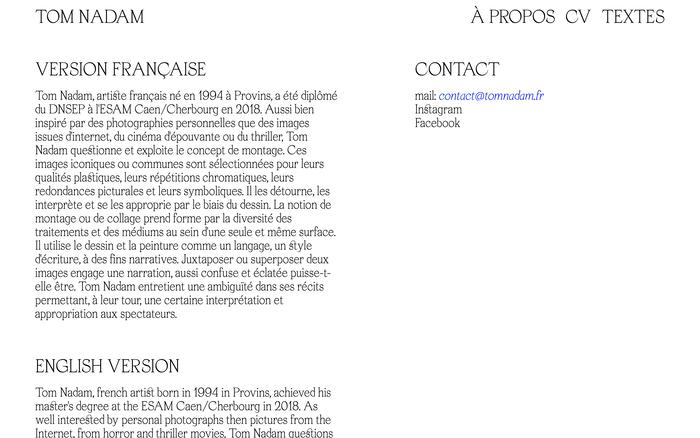Tom Nadam portfolio website 3