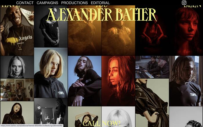 Alexander Bather portfolio website 1