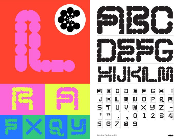 Type specimen for Elbow Sans.