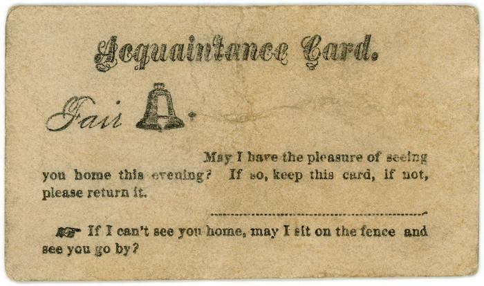 """Fair Belle"" acquaintance card"