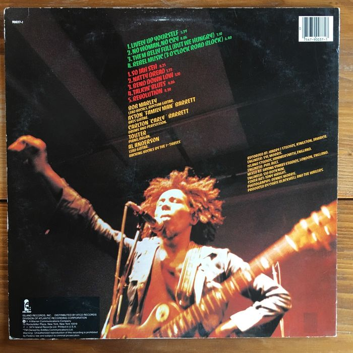 Back cover of the US pressing by Island Records, distributed by ATCO Records.