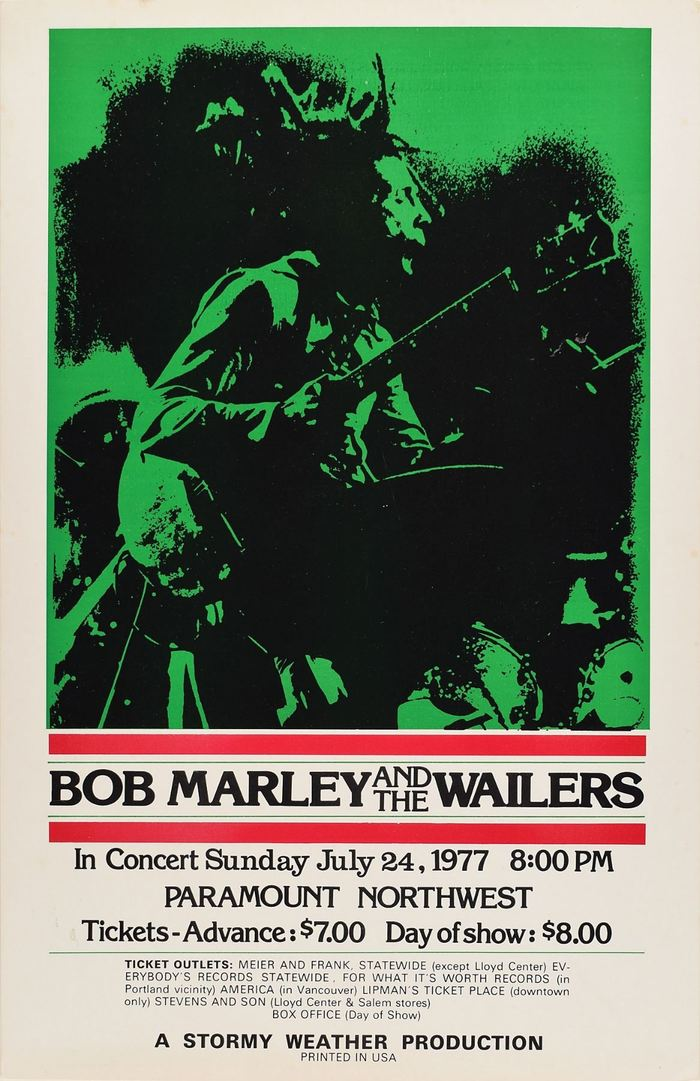 Bob Marley and the Wailers at the Paramount Theatre concert posters 1