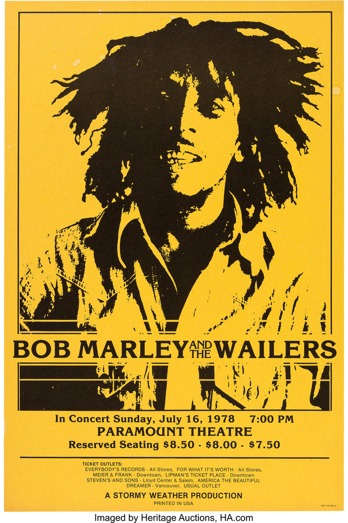 Bob Marley and the Wailers at the Paramount Theatre concert posters 2