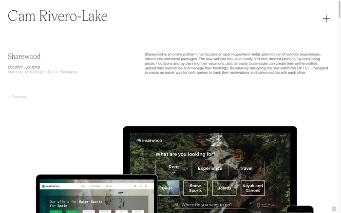 Cam Rivero-Lake portfolio website 2