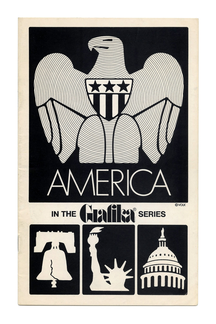 """""""America"""" (No. G20, 1972) ft. tightly spaced caps from  Light, with a custom CA ligature. The small text here is set in all-caps ."""