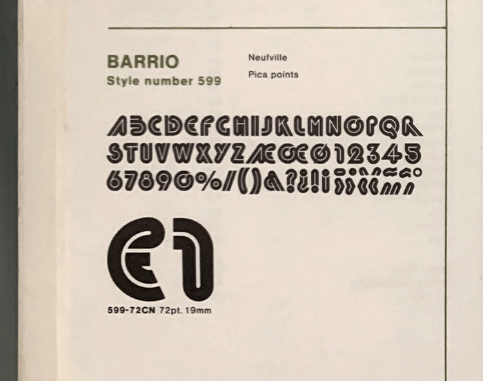 Glyph set of Barrio without lowercase as shown in a 1974 Zipatone catalog.