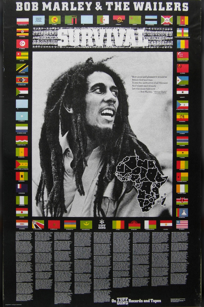 """The promotional poster provides state names to the flags and basic information about each country. A map with 53 numbers helps to locate the countries on the African continent. The spots for South Africa (#42) and Zimbabwe (#53) are intentionally left blank. Western Sahara (#50) is listed with the note """"Territory in dispute (no flag at present)"""". At the bottom center, the Tuff Gong logo (in ) is shown between the flags of Mali and Mauritania."""