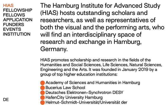 Hamburg Institute for Advanced Study (HIAS) website 2