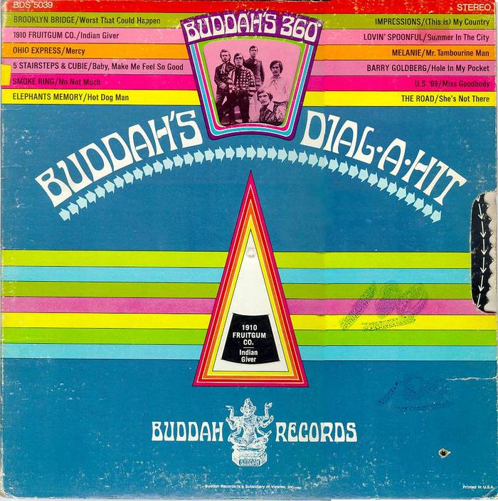 set on a curve on the cover of Buddah's 360 Degree Dial-A-Hit, a label compilation from 1969. The design is by Silver & Morris, Inc., with art direction from . [More info on Discogs]