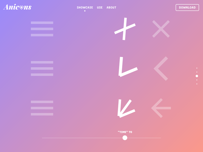 Anicons – Animated Color Icon Font website 3