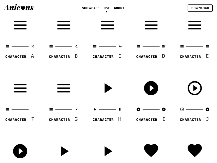 Anicons – Animated Color Icon Font website 5