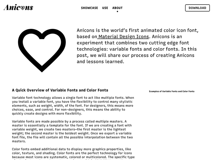 Anicons – Animated Color Icon Font website 6