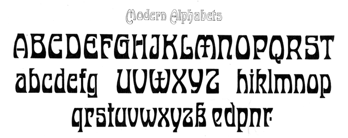 "Untitled ""modern alphabet"" by J.M. Bergling as shown in his Art Alphabets & Lettering (1914)."