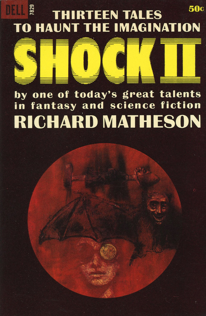 Shock II. Thirteen tales to haunt the imagination, Dell 7829, October 1964. Cover artist is uncredited. [More info on ISFDB] The title uses , a shaking variation of , carried by Photo-Lettering. The Roman numerals appear to be custom additions, made from repurposed I's. The secondary typeface is  Bold.