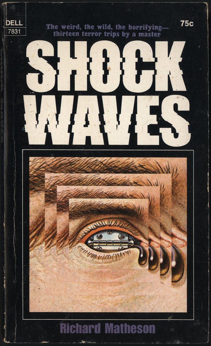 Shock Waves. The weird, the wild, the horrifying-thirteen terror trips by a master, Dell 7831, October 1970.  [More info on ISFDB] For this last volume, the uncredited cover designer cut up  and shifted some of the slices to the left or right. A few years later, in 1973, Vic Carless created the  typeface by applying a similar concept to the letterforms of . With the diagonal cuts and the slight offset including repeating bits, his execution is more dynamic and convincing. The blurb at the top uses , a follower of .