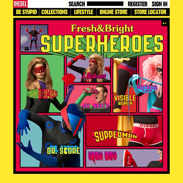 The superhero lineup as seen on the Diesel website.