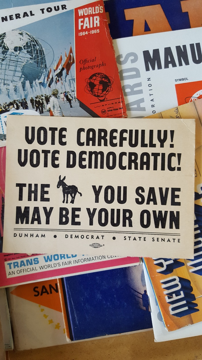 Vote Carefully! Vote Democratic! The [ass] you save may be your own. (Dunham • Democrat • State Senate)