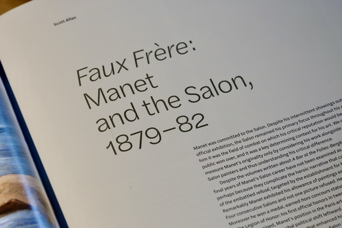 The headings are set with a short line measure, leaving opening pages with a generous amount of white space. Halyard Text is specified in roman and italic styles, with non-ligning numerals.