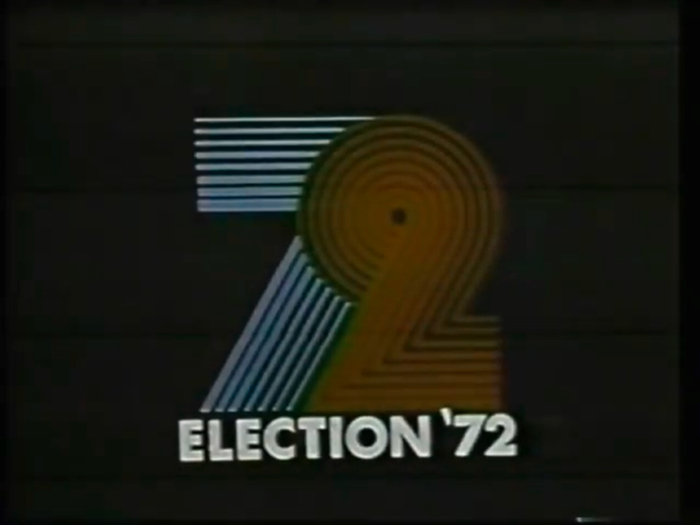 """Still from an animated sequence. """"Election '72"""" is in caps from  Bold."""