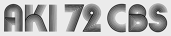 For comparison, a setting in Aki Lines. The glyphs are made from seven lines. In the 7, the weight gradient runs in the opposite direction from the glyph in the CBS graphics.