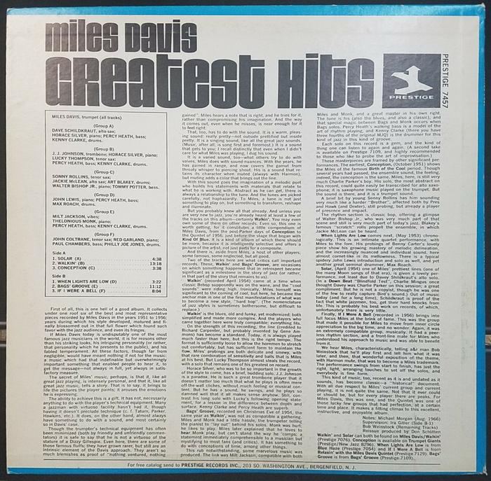 Miles Davis – Greatest Hits (Prestige) album art 2