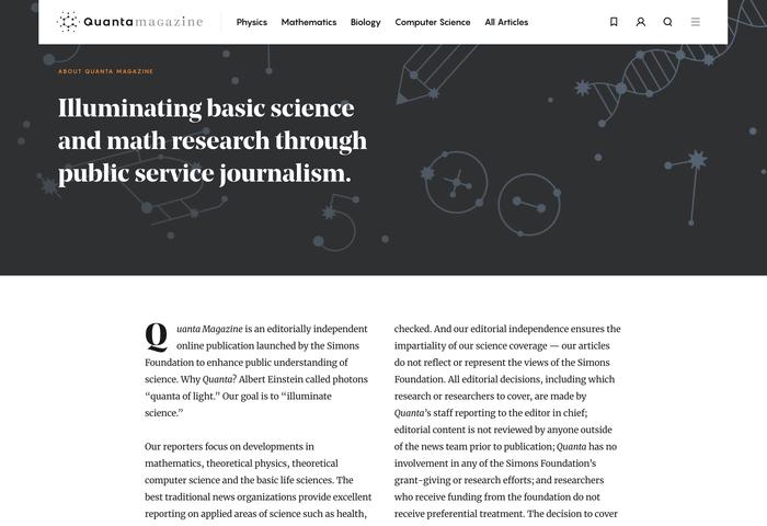 Quanta Magazine website 3
