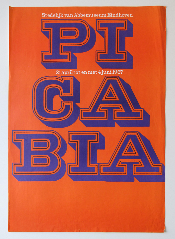Poster with Picabia's name broken into syllables. The slab-serif letterforms are printed in two colors, with the inner contour in black. Smaller text is shown in reversed . The poster was produced by  in Hilversum.