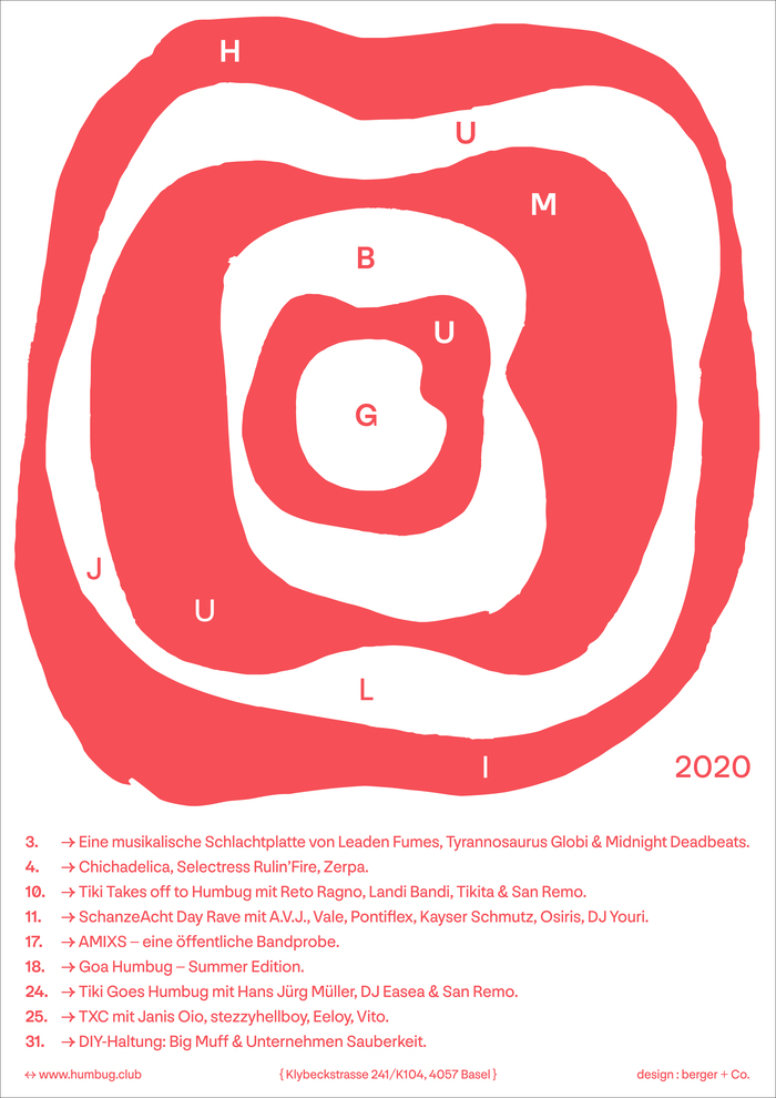 Humbug July 2020 program poster series 1