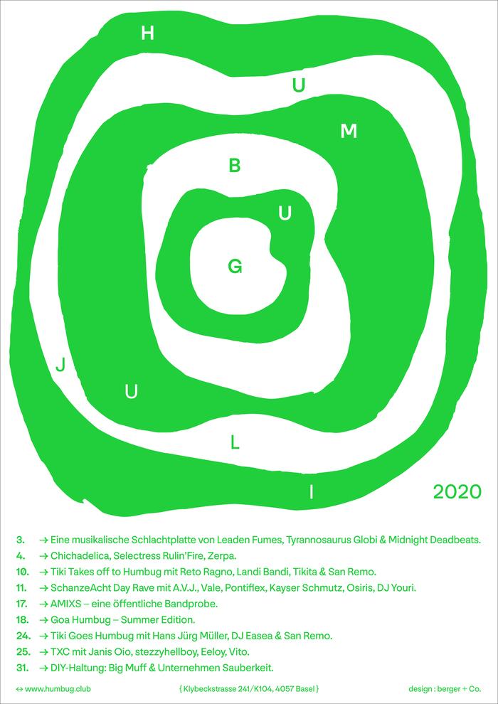 Humbug July 2020 program poster series 2