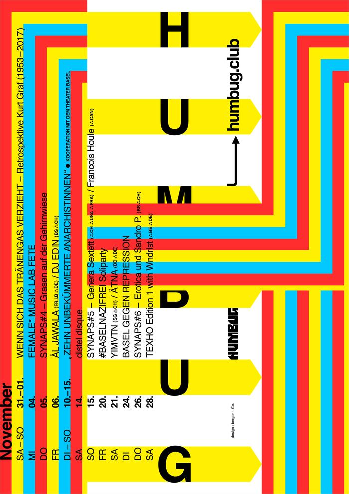 Humbug November 2020 program poster series 1