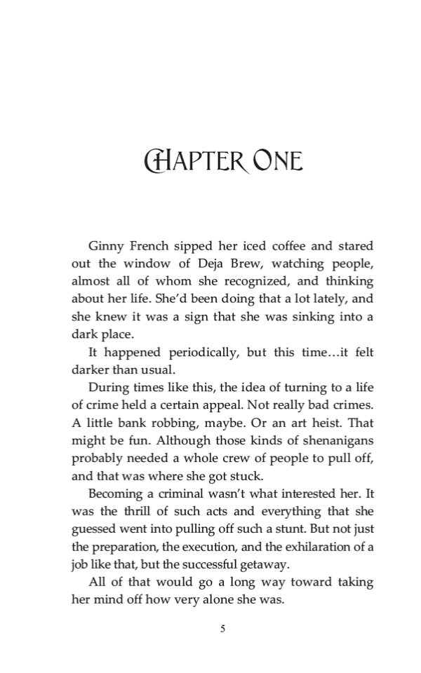 Chapter opening from The Forgettable Miss French (2019). The heading in Sveva is paired with text set in .