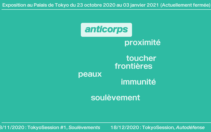 Homepage, French version. The intro text fades out, leaving the six keywords/topics as entry points to the exhibition.