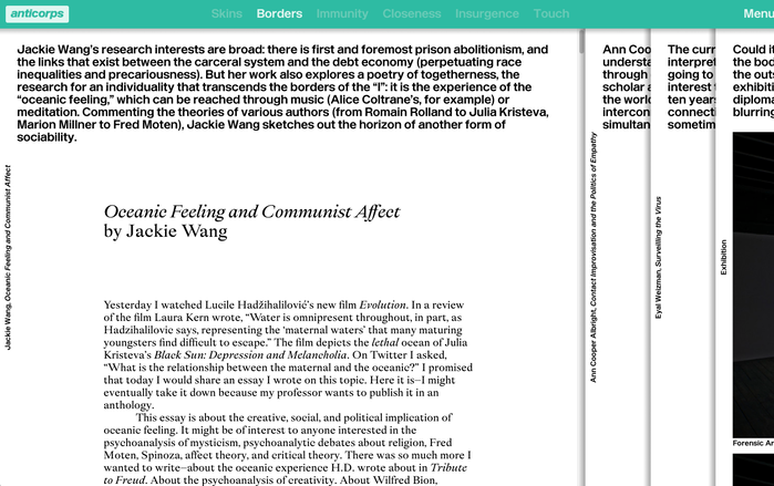 Enduro is used for the page intro and the rotated title on the left. The article headline is rendered in Big Daily Italic, with the roman specified for the author's name.