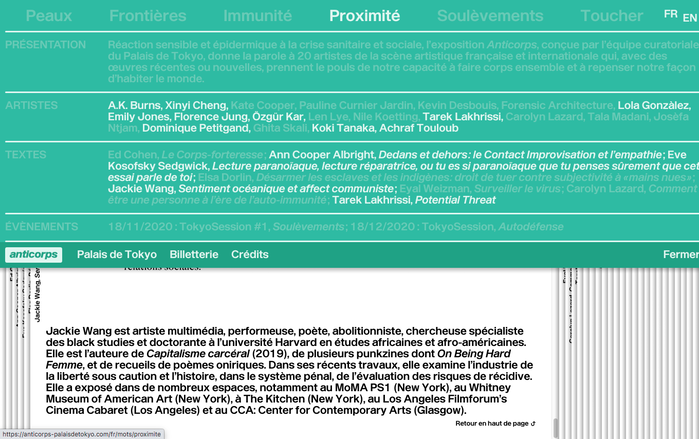 When hovering over one of the topics in the top row, all associated artists and texts are highlighted.