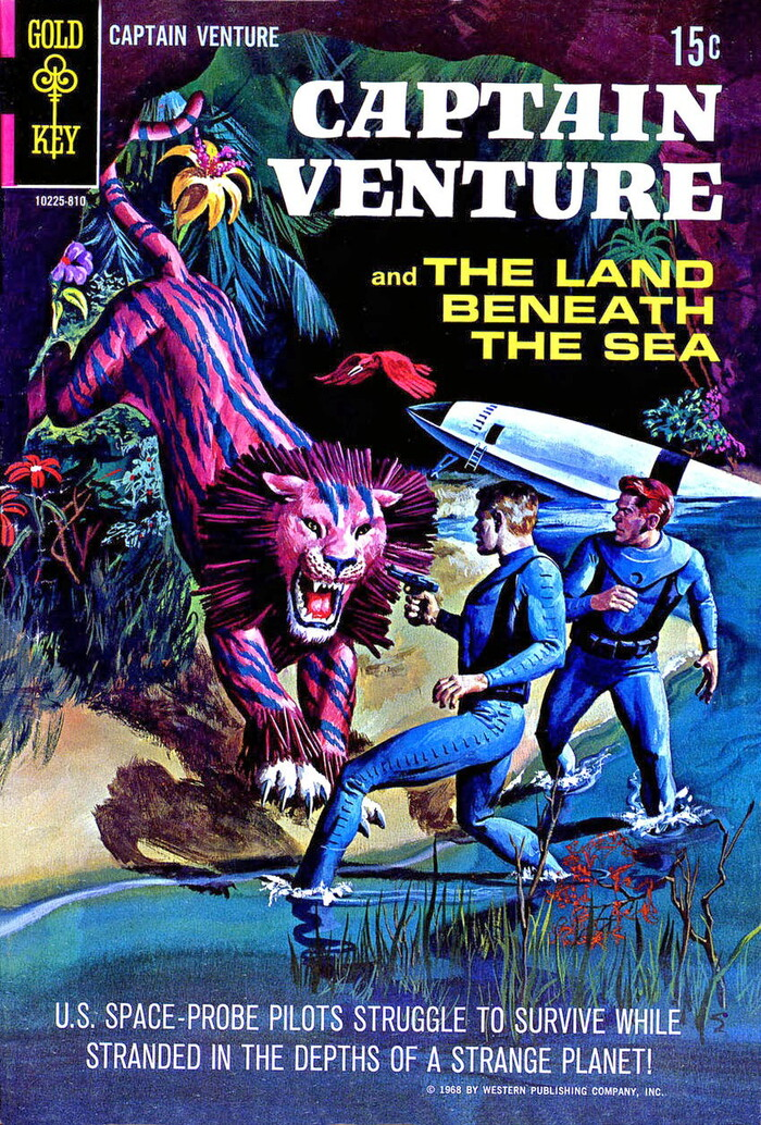 """Captain Venture and the Land Beneath the Sea, #1, 1968. """"U.S. Space Probe Pilots Struggle to Survive While Stranded in the Depths of a Strange Planet!"""" Cover artist unknown. [Grand Comics Database]"""