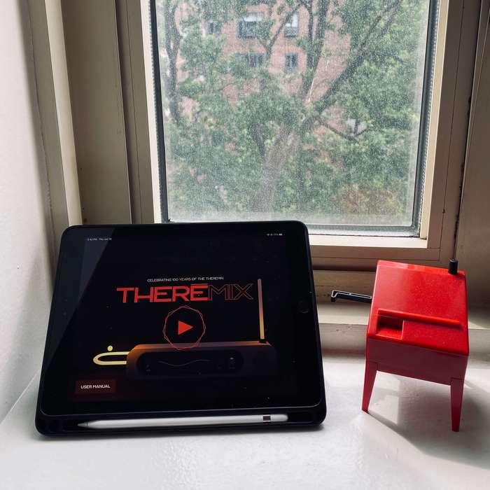 Theremix: Virtual Theremin on iPad next to mini theremin.