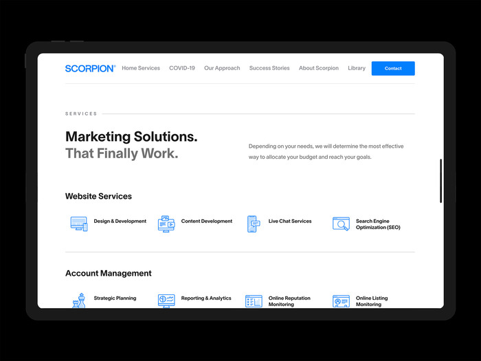 Scorpion Inc. website 2