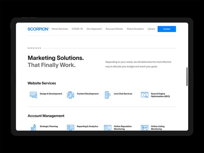 Scorpion Inc. website 2