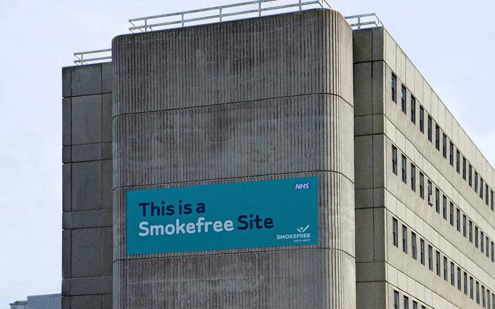 Smokefree sign placed around Hospital sites