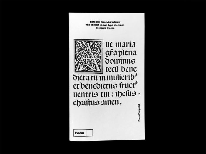 Erhard Ratdolt's Index characterum, the earliest known type specimen, Poem Pamphlet No.3 1